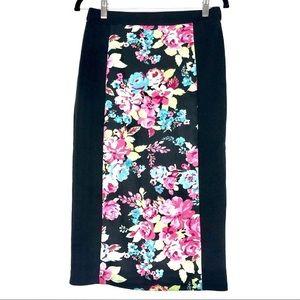 EUC Joe Benbasset Black Floral Pencil Skirt Large